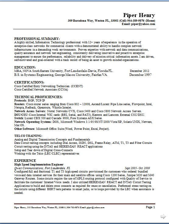 computer operator resume format in word free