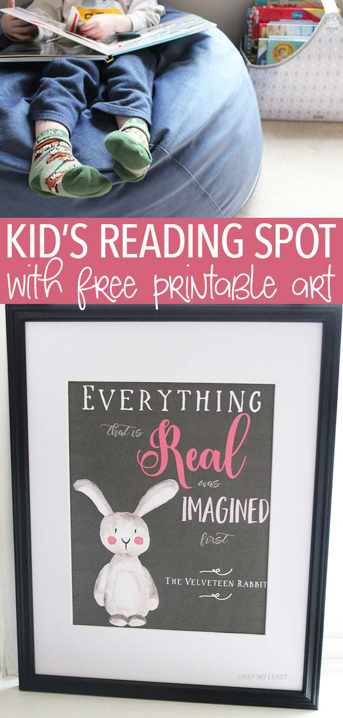 Create a cozy reading corner with free printable art inspired by the Velveteen Rabbit! Add an assortment of books and this snuggly lounger and you have the perfect spot to read, dream, and imagine. Get the printable today!