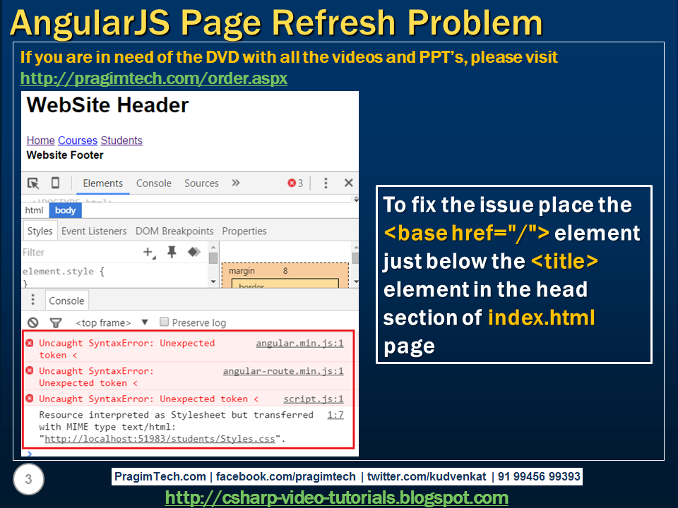 Sql server,  net and c# video tutorial: AngularJS page