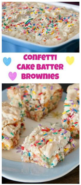 Confetti Cake Batter Brownies