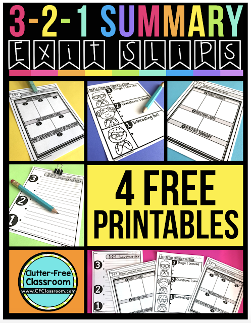 FREEBIE ALERT! This 3-2-1 summary product from the Clutter Free Classroom is free! This open-ended formative assessment lends itself to many different content areas. This easy no-prep printable is ready for you to try out with your students! #exitticket #exitslip #exitprompt #exitpass #exitcard #freebie #formativeassessment #elementary #commoncore #firstgrade #1stgrade #secondgrade #2ndgrade #thirdgrade #3rdgrade #fourthgrade #4thgrade #fifthgrade #5thgrade