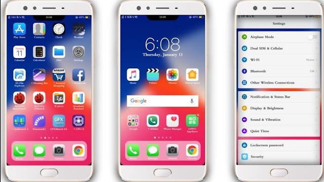 Tema iPhone untuk Oppo (ColorOS & iOS) Tembus Akar - iPhone X Terbaru