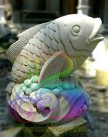 Air mancur ikan batu alam