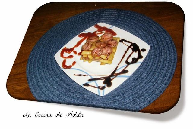 Butifarra,   con  patatas  suflé