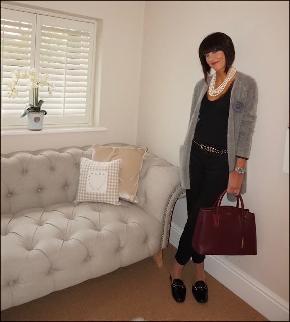 My Midlife Fashion, H&M Mohair cardigan, j crew twisted pearl necklace, HM lace top, la kooples studded belt, zara cigarette pants, la bante cabriole tote, marks and spencer loafer mules