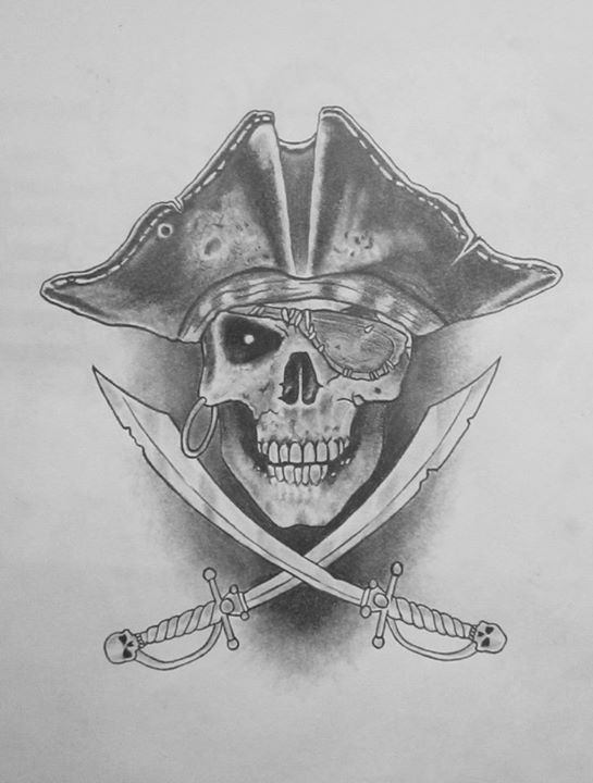 tattoo pain: Diseño Calavera pirata