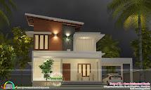 Beautiful Slanting Roof Mix 1900 Sq-ft - Kerala Home