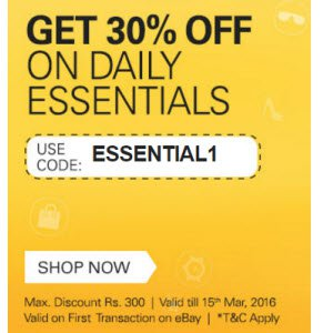 Ebay Offer Daily Essentials 30% off + 1% off