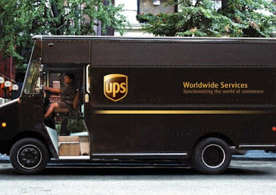 UPS delivering yarn.  Truck full of yarn