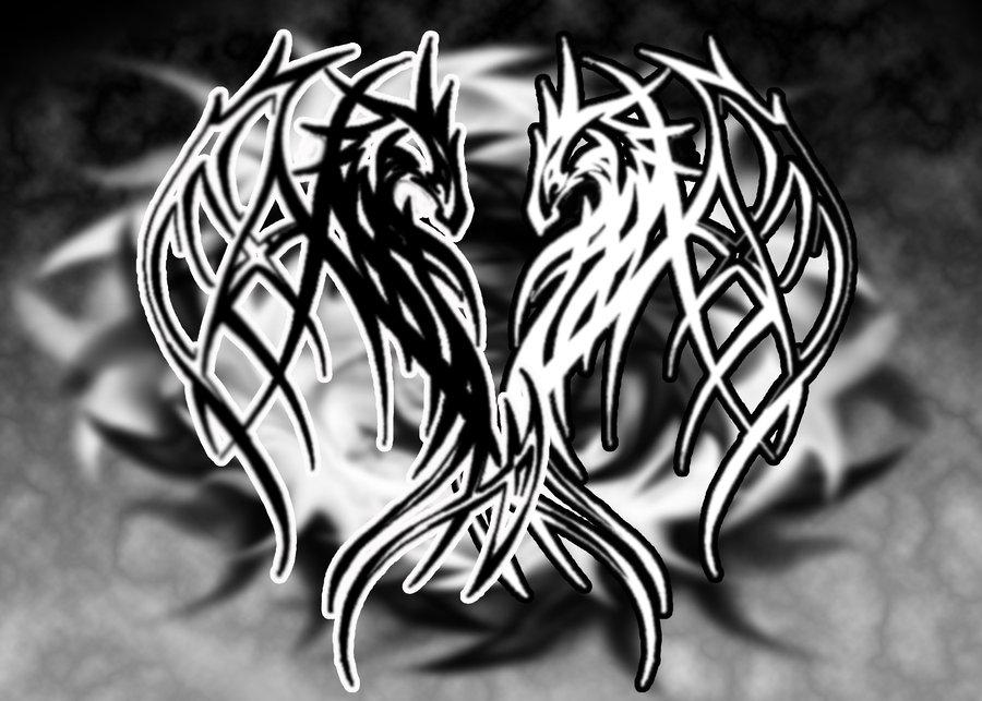 Skull And Dragon Black White Wallpaper