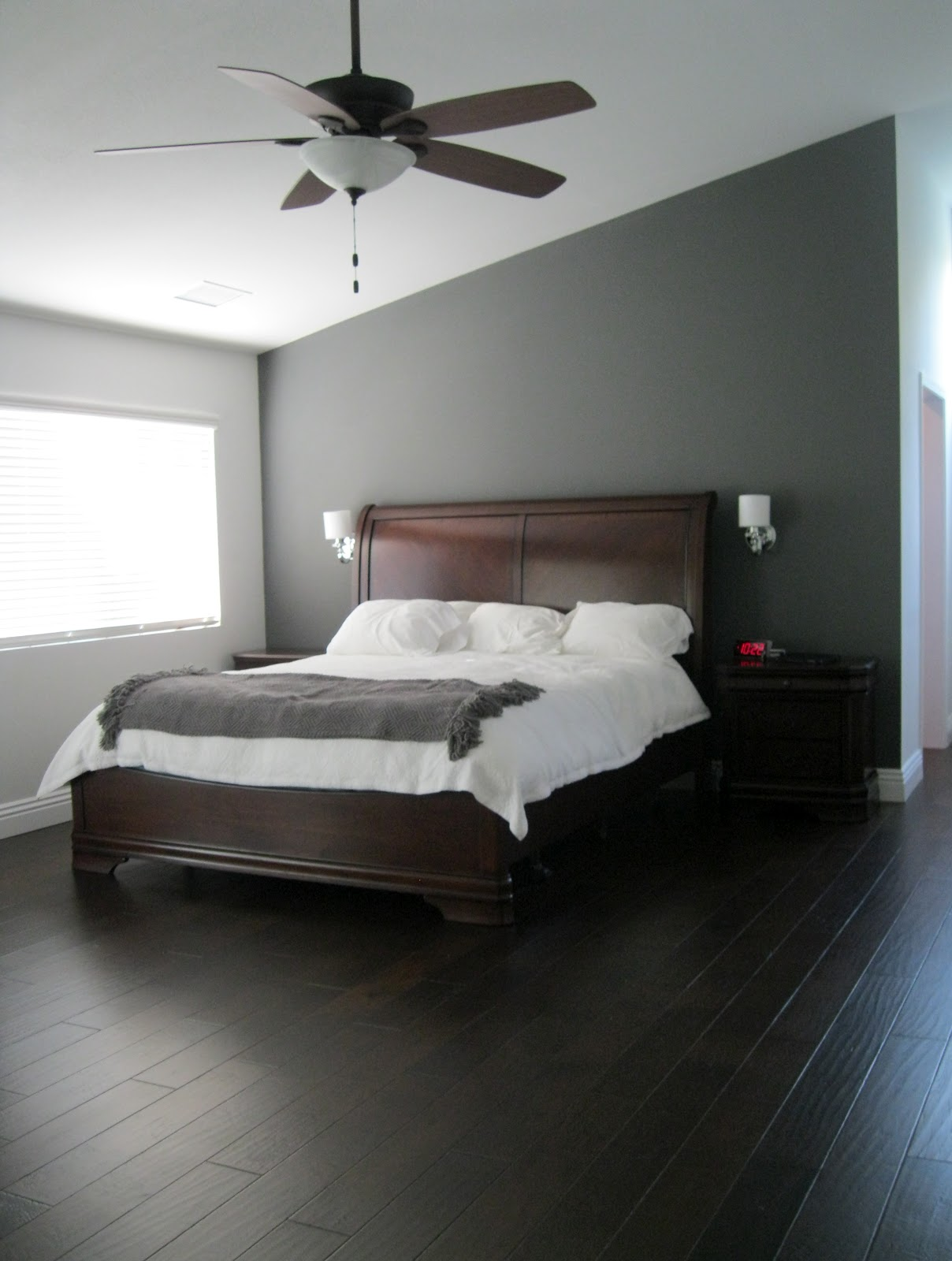 C b i d home decor and design charcoal gray master suite for Bedroom designs with dark wood furniture