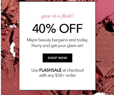 ELF Cosmetics Flash Sale 40% Off Promo Code