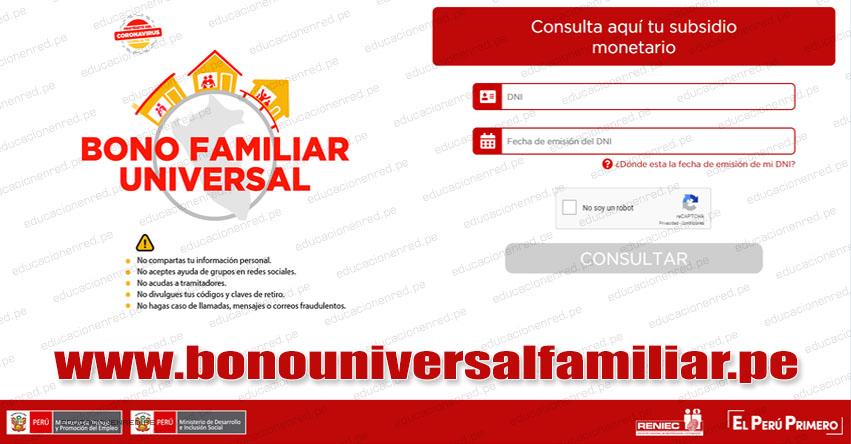 LINK OFICIAL BONO FAMILIAR UNIVERSAL: Salió publicado la lista de Beneficiarios. Ingresa tu DNI