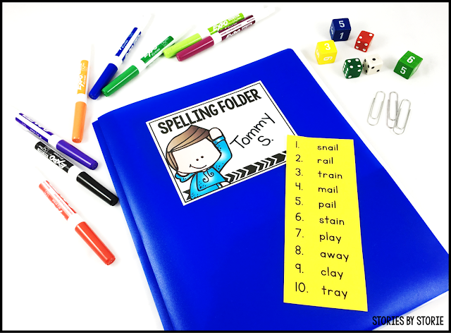 If you're looking for a great way to save on copies for the year, you can use spelling folders for your weekly spelling practice. Copy all of the pages you want, place into sheet protectors, and then place these pages into a folder. Students can use the pages again and again each week with a new list of spelling words.