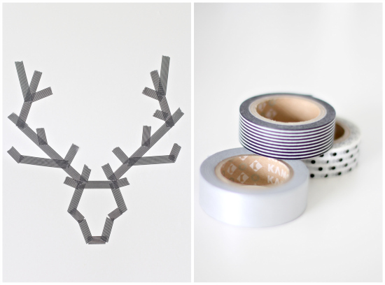 on the left pieces of tape arranged to look like a deer head, on the right three rolls of tape stacked on top of each other