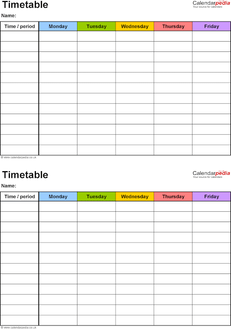 Timetable Templates For School In Excel Format - Excel -3478