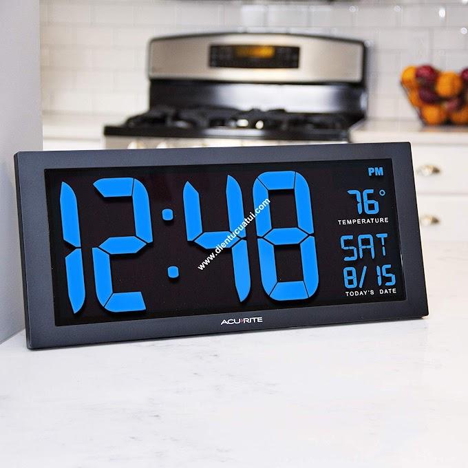 Đồng hồ điện tử led treo tường nhiệt độ - BLUE