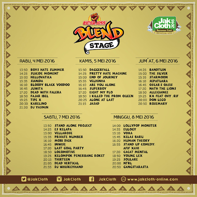 jadwal band rundown jakcloth summer fest 2016
