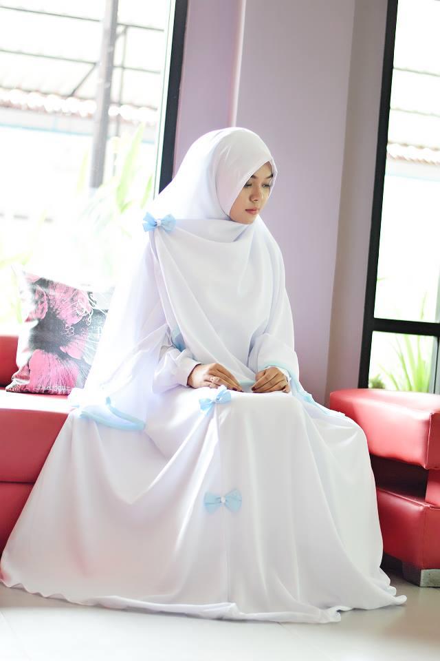 Kumpulan Busana Muslim Gamis Warna Putih Terbaru Trend 2018 Contoh