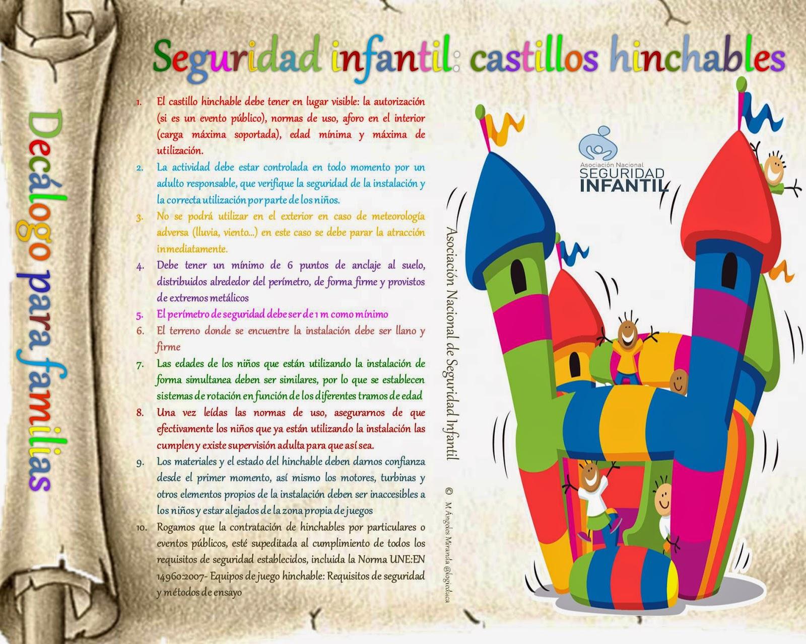 Infografía decálogo de seguridad infantil en castillos hinchables