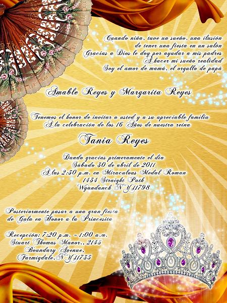 Invitación novedosa para 15 años dorada y bronce con abanicos y corona