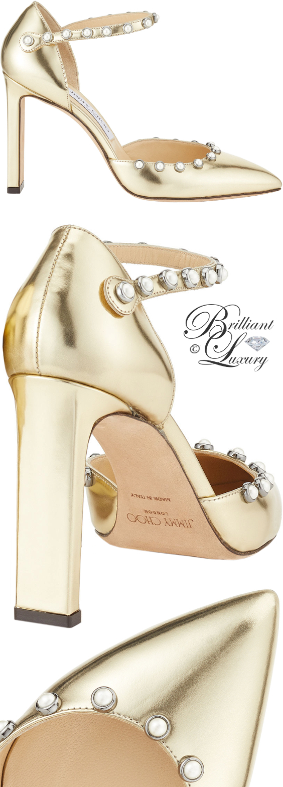 Brilliant Luxury ♦ Jimmy Choo Leema gold mirror leather pumps with beads