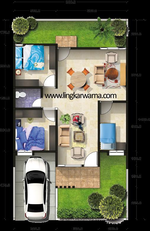 Denah rumah minimalis type 64m2