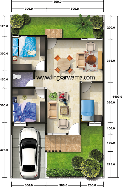 Denah rumah minimalis type 64 3 kamar tidur 1 lantai