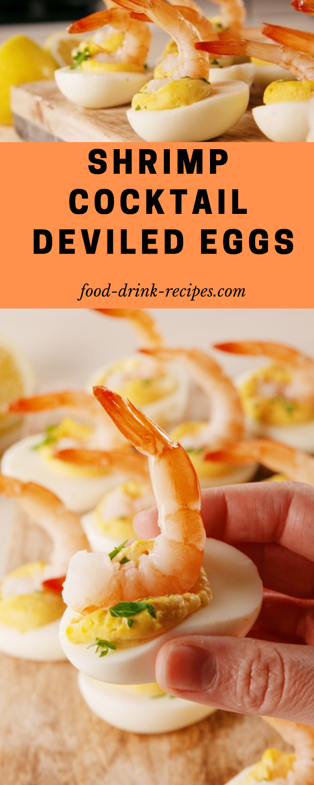 Shrimp Cocktail Deviled Eggs - food-drink-recipes.com