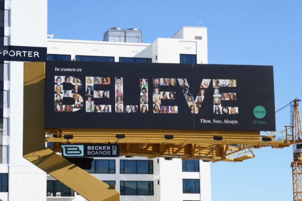 In women we BELIEVE Lifetime 35 years billboard
