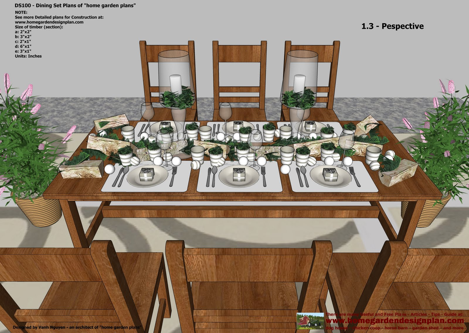 DS100 - Dining Table Set Plans - Woodworking Plans
