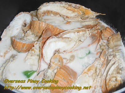 Slipper Lobster in Coconut Milk with Spinach - Cooking Procedure