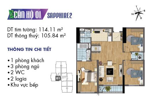 Căn hộ 01 tòa Sapphire 2