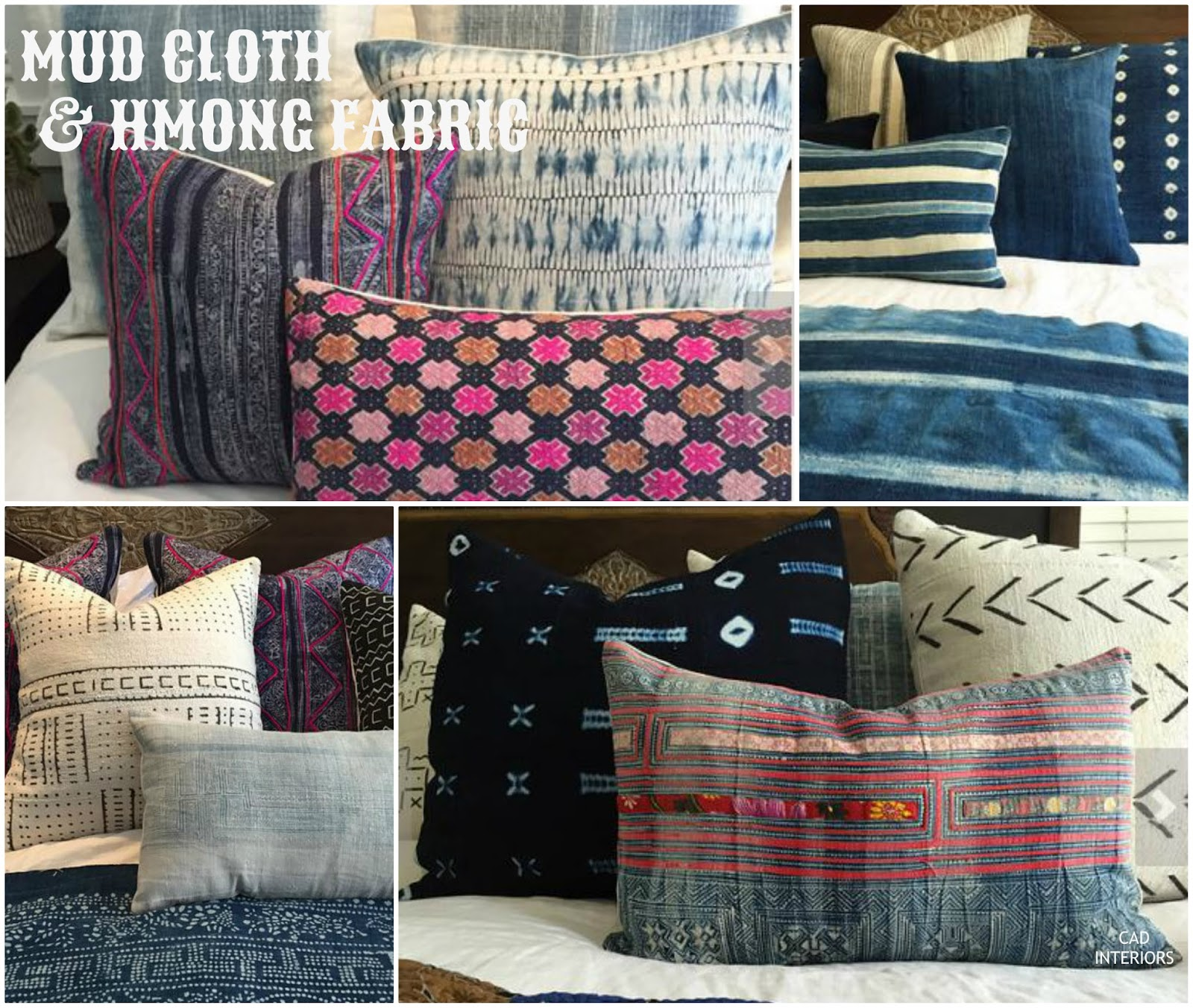 African mud cloth hmong batik fabric pillow covers