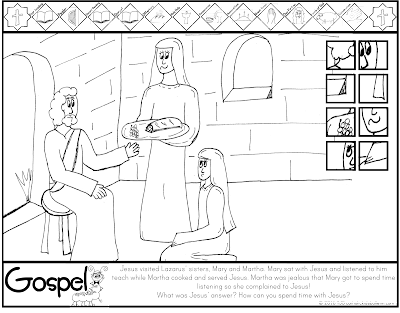 Luke 10.28-42 Jesus Mary and Martha Coloring Page Catholic Kids