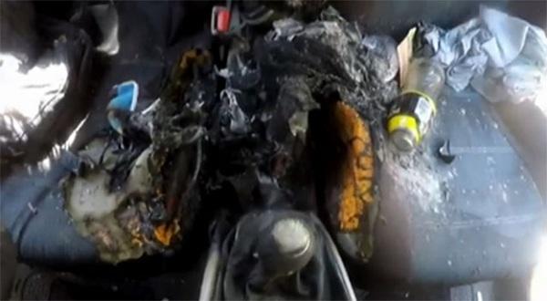 Nội thất của xe bị hư hỏng nặng nề
