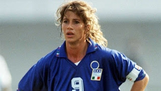 Carolina Morace during her playing days as captain and  centre forward of the Italy women's team