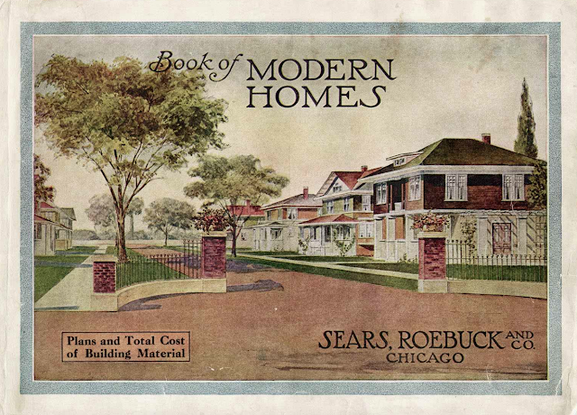 color image of street of Sears houses -- cover of 1911 Sears Book of Modern Homes catalog