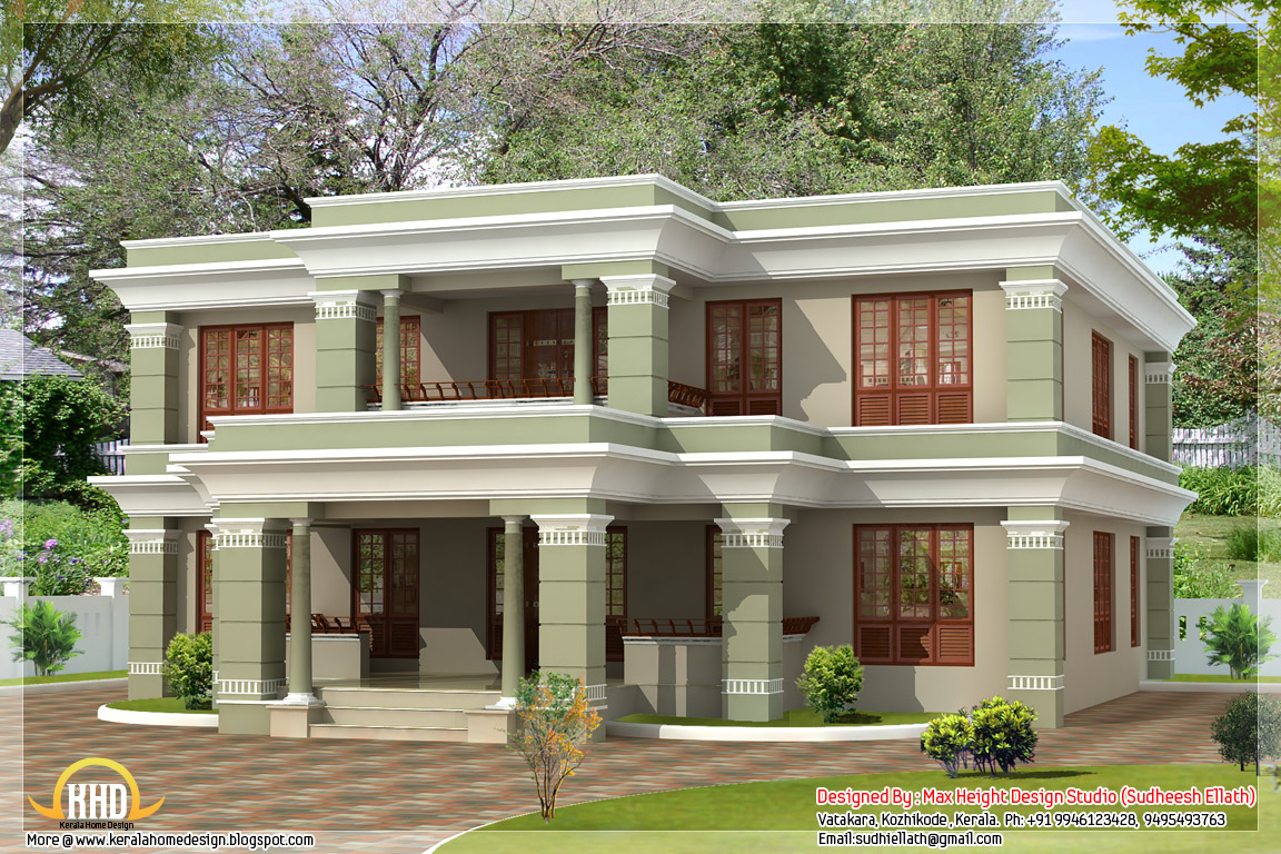 4 different style india house elevations kerala home South indian style house plans with photos