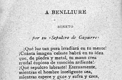 Fragmento del soneto «A Benlliure», publicado en el calendario de 1899