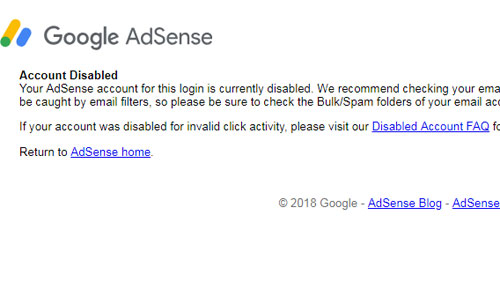 Google Adsense cannot be accessed