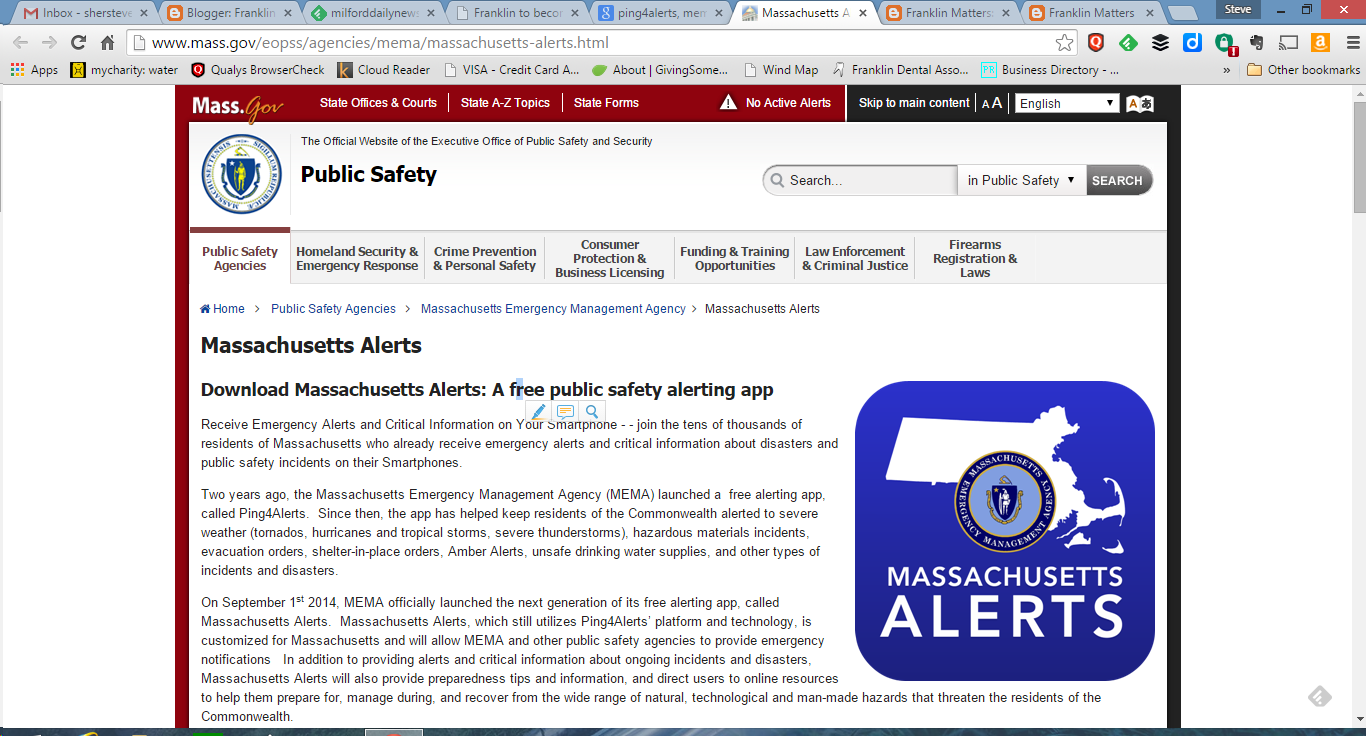 screen grab of the MEMA page touting Ping4Alerts