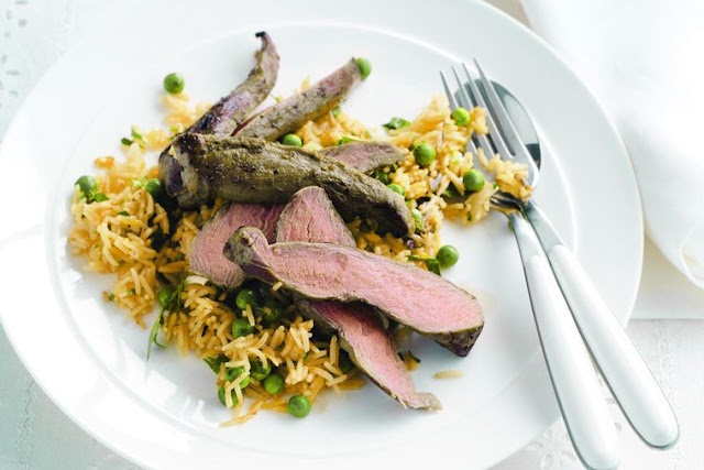 Persian lamb fillets with green pea and saffron rice