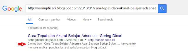 Cara Supaya Postingan Cepat Ter-Index Google Terbaru
