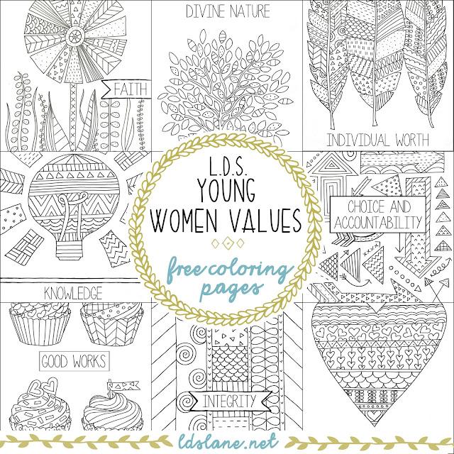 LDS Young Women Values Coloring Pages - ldslane.net