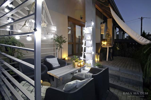 baba ma dom, design, drewno,  inspiracje, lampion, lato, metamorfozy, ogród, rośliny, śródziemnomorski, świeca, taras, drabina,