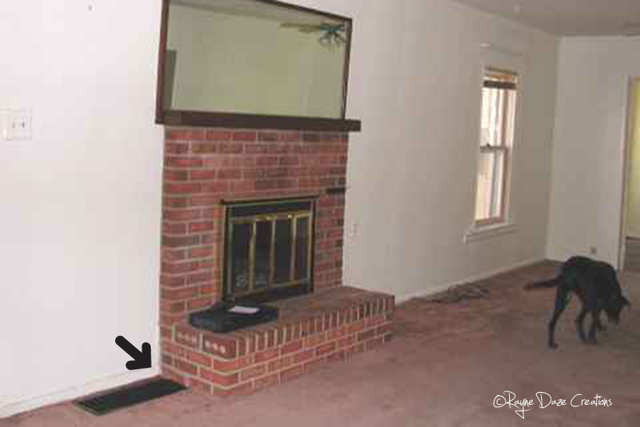 Rayne daze creations dreaming of a fireplace makeover - Red brick fireplace makeover ...