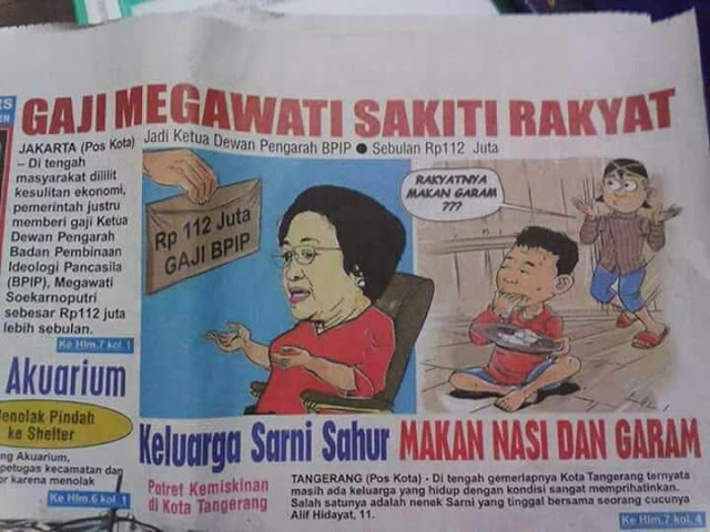 "Headline Koran Pos Kota: ""GAJI MEGAWATI SAKITI RAKYAT""; Warganet: Hati-hati Kesruduk Banteng"