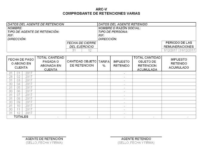 FORMATO ARC- V COMPROBANTE DE RETENCIONES VARIAS ACTUALIZADO