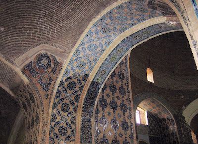 Tile works and brick works of Tabriz blue mosque.